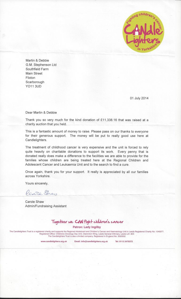 LETTER OF APPRECIATION FROM THE CANDLE LIGHTERS TRUST